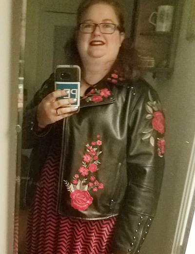 jocelyne plus-size power outfits embroidered leather jacket red dress