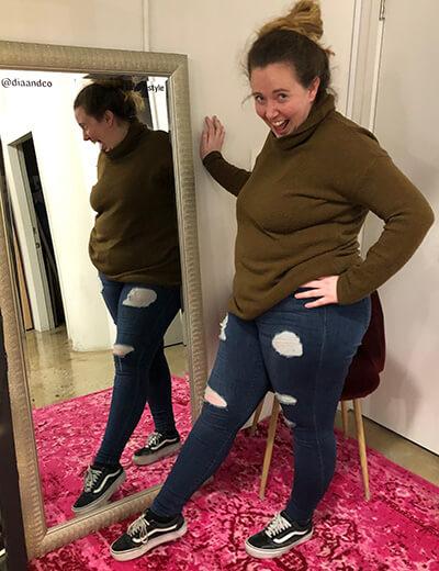 grace plus-size power outfits turtleneck sweater distressed denim