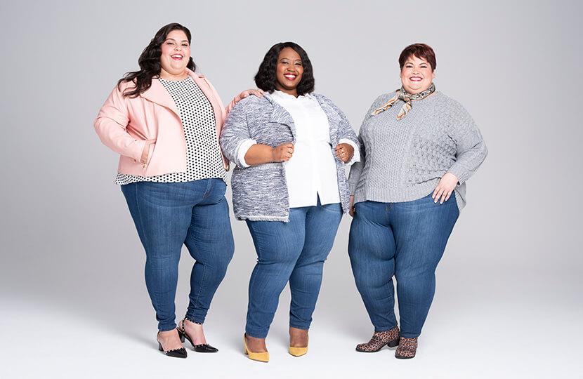plus-size denim three women in skinny jeans