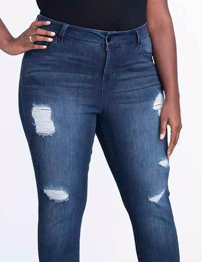 plus-size denim distressed jeans