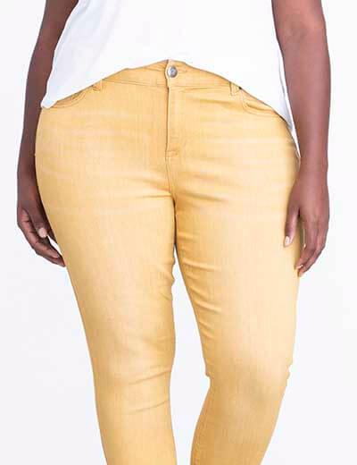 plus-size denim yellow skinny jeans