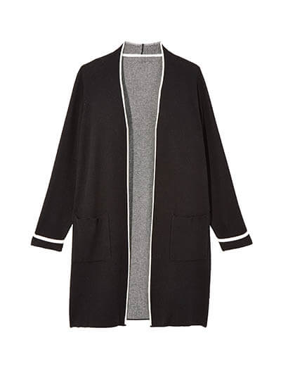 black cardigan with white stripes