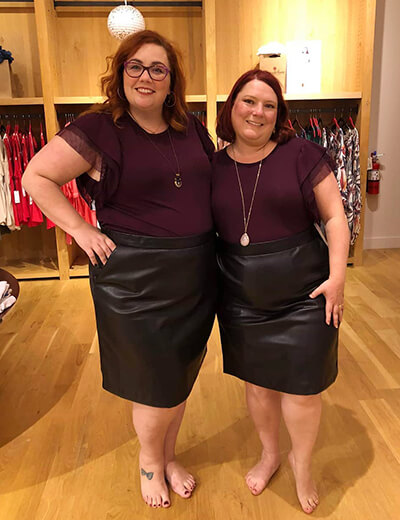 what i see in her two women plus-size burgundy top black leather skirt