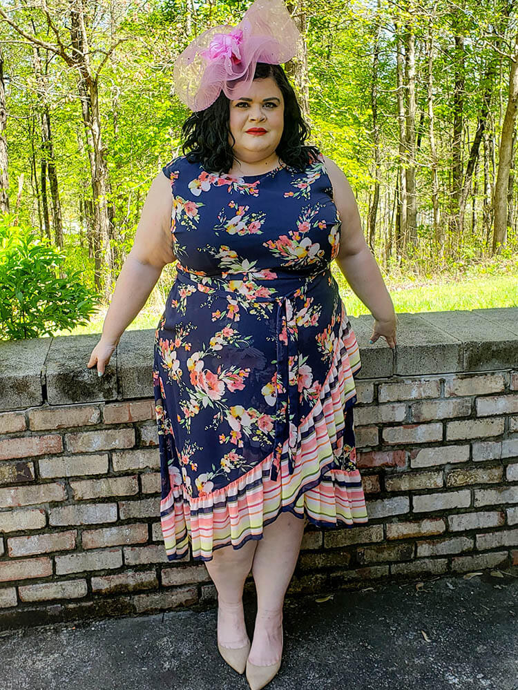 plus-size kentucky derby style black floral dress ruffles pink hat
