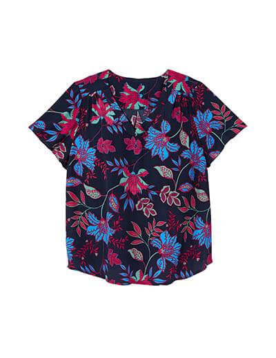 prints plus size short sleeve floral top