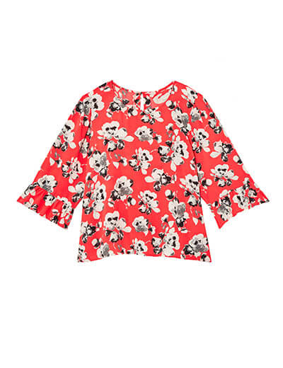 prints plus size red three quarter length top with black and white flowers