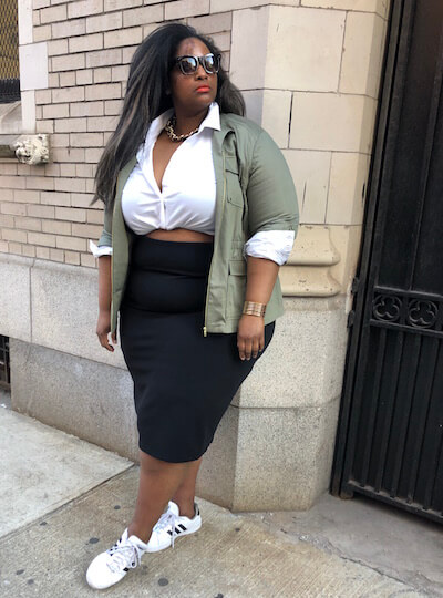 Lauren in an edgy outfit featuring a white button-down.