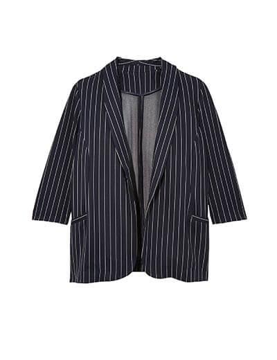 plus-size spring capsule collection pinstripe blazer