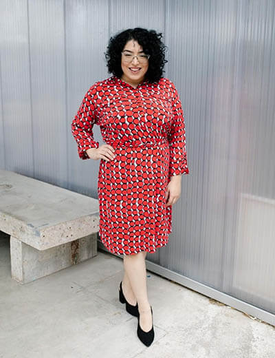 plus-size outfit photos red black and white dress