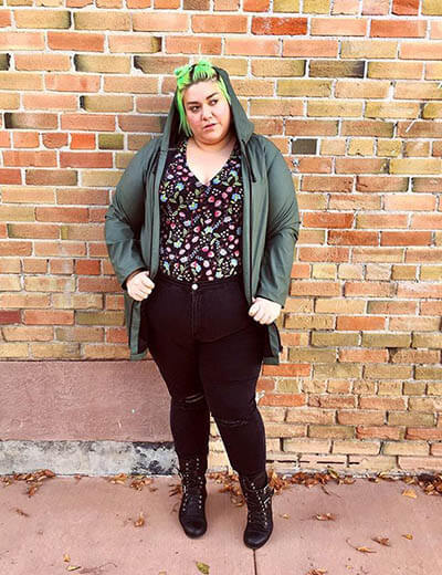 plus-size florals cailey berg floral top hoodie black jeans