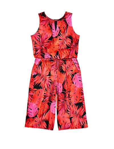 red and pink jumpsuit