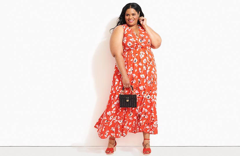 31494fce0 plus size model in red floral maxi dress. 37. Shares. What's your sign?