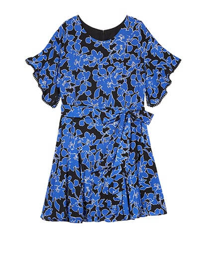 Floral black and blue fit and flare dress