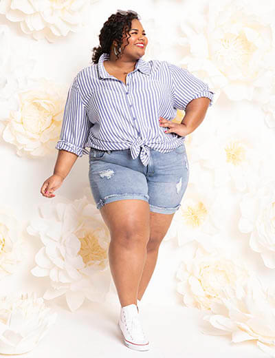 plus-size spring style bbq baseball game striped button up denim cutoffs