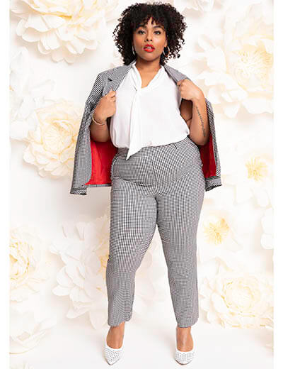 plus-size spring style interview presentation gingham suit white tie neck blouse
