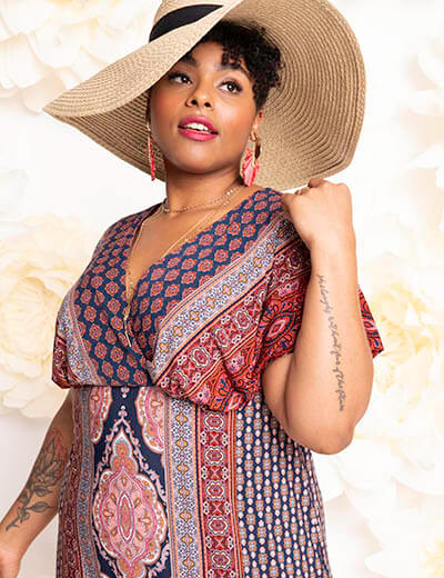 plus-size spring style printed maxi floppy hat