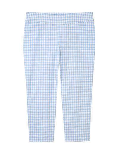 plus size blue gingham pants spring