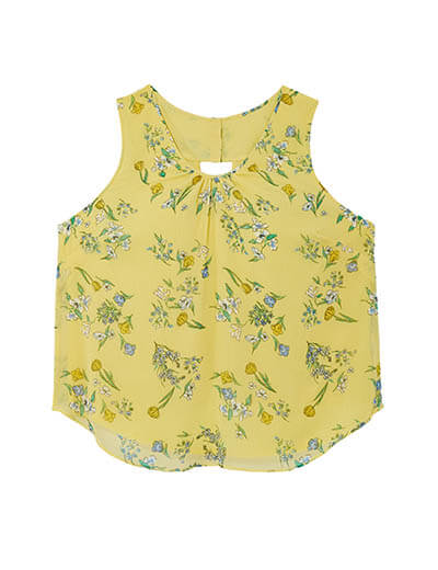 plus size yellow tank flowers spring