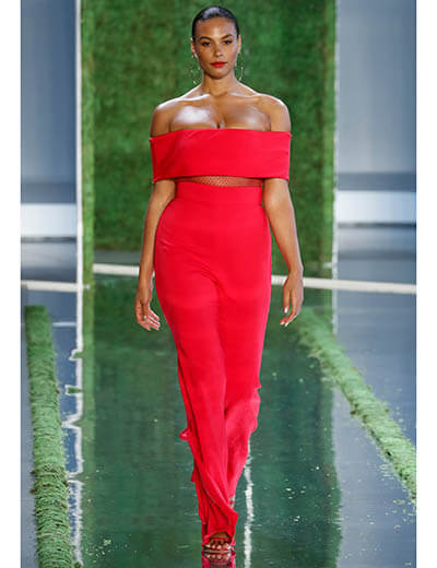 plus size model runway spring 2019 red dress