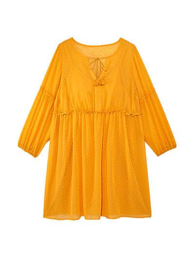 plus size yellow tunic spring