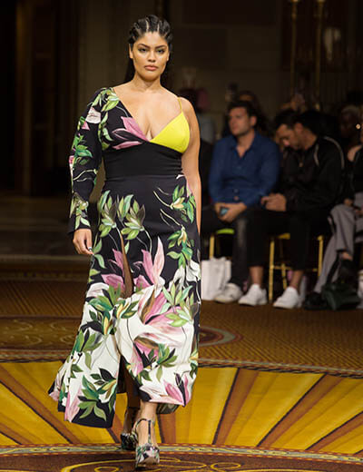 plus size model on the runway spring 2019 scarf prints dress