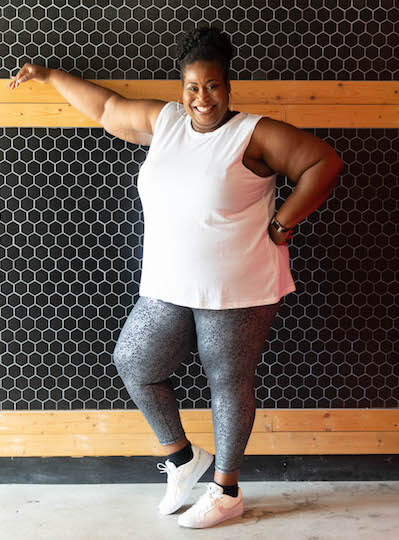 Terri Smith in a plus-size activewear outfit.