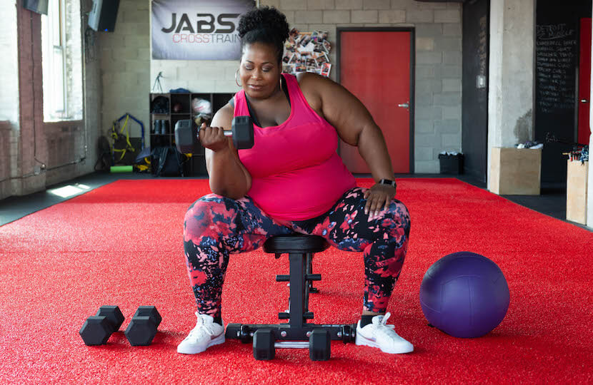 Terri Smith lifting weights.