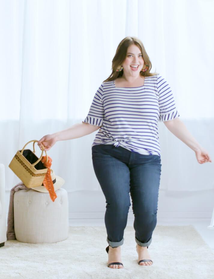 plus-size denim striped top straw bag heels