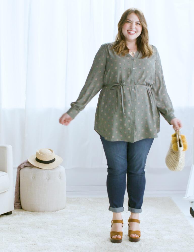 plus-size denim olive tunic platform sandals