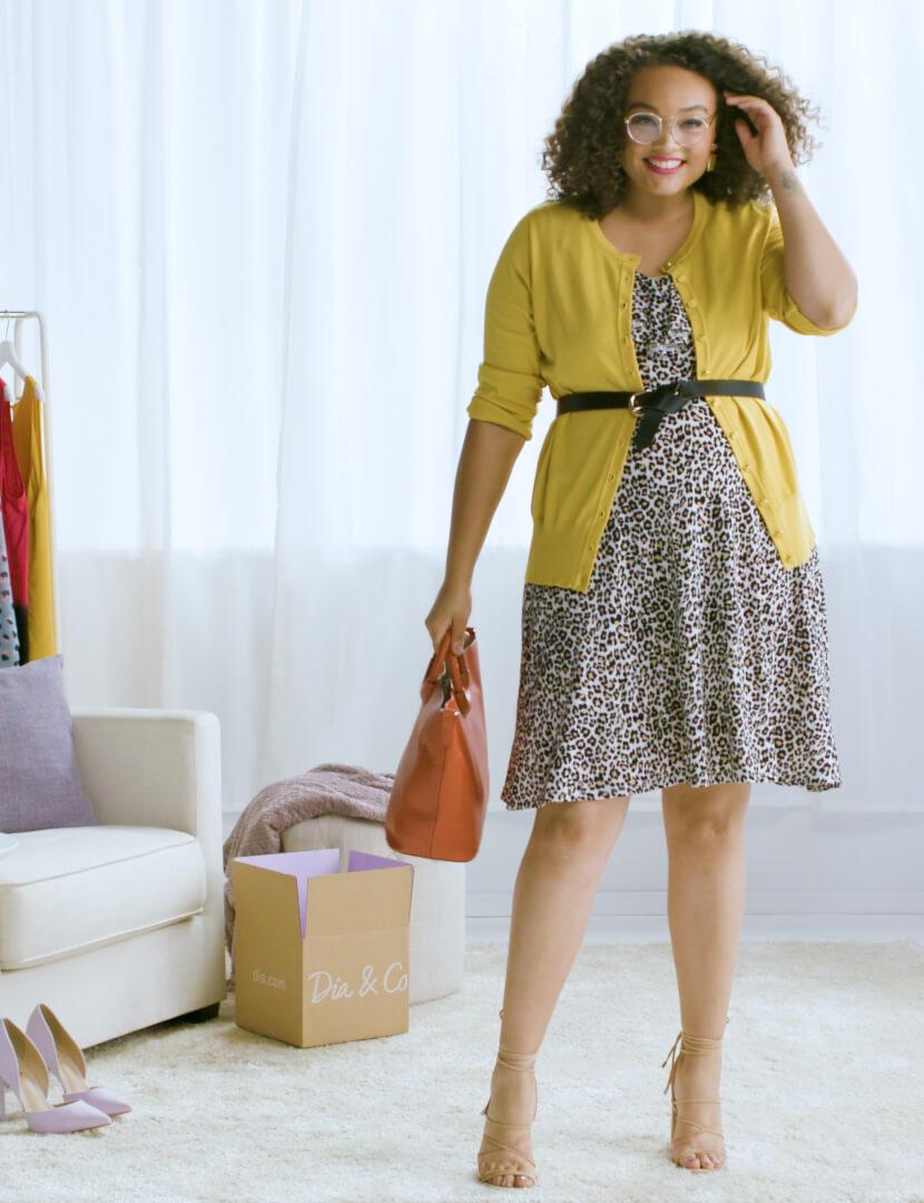 plus-size leopard-print dress spring essentials chartreuse cardigan belt orange bag