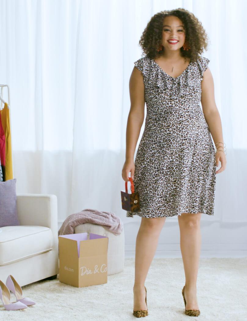 plus-size leopard-print dress printed clutch leopard-print heels