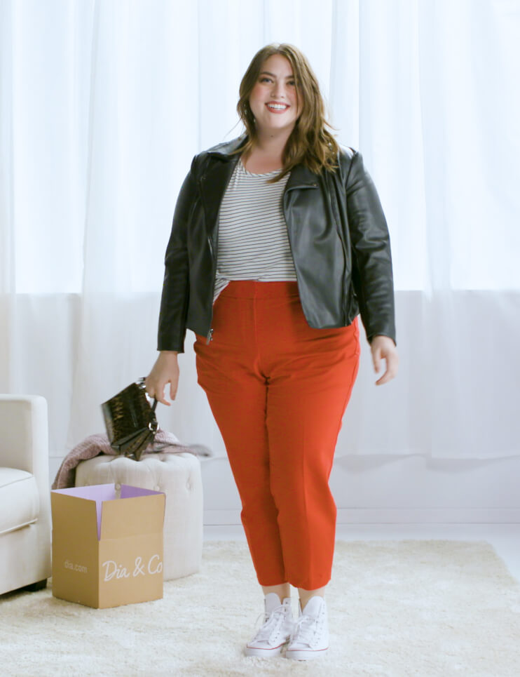 plus-size red pants striped tee leather moto jacket