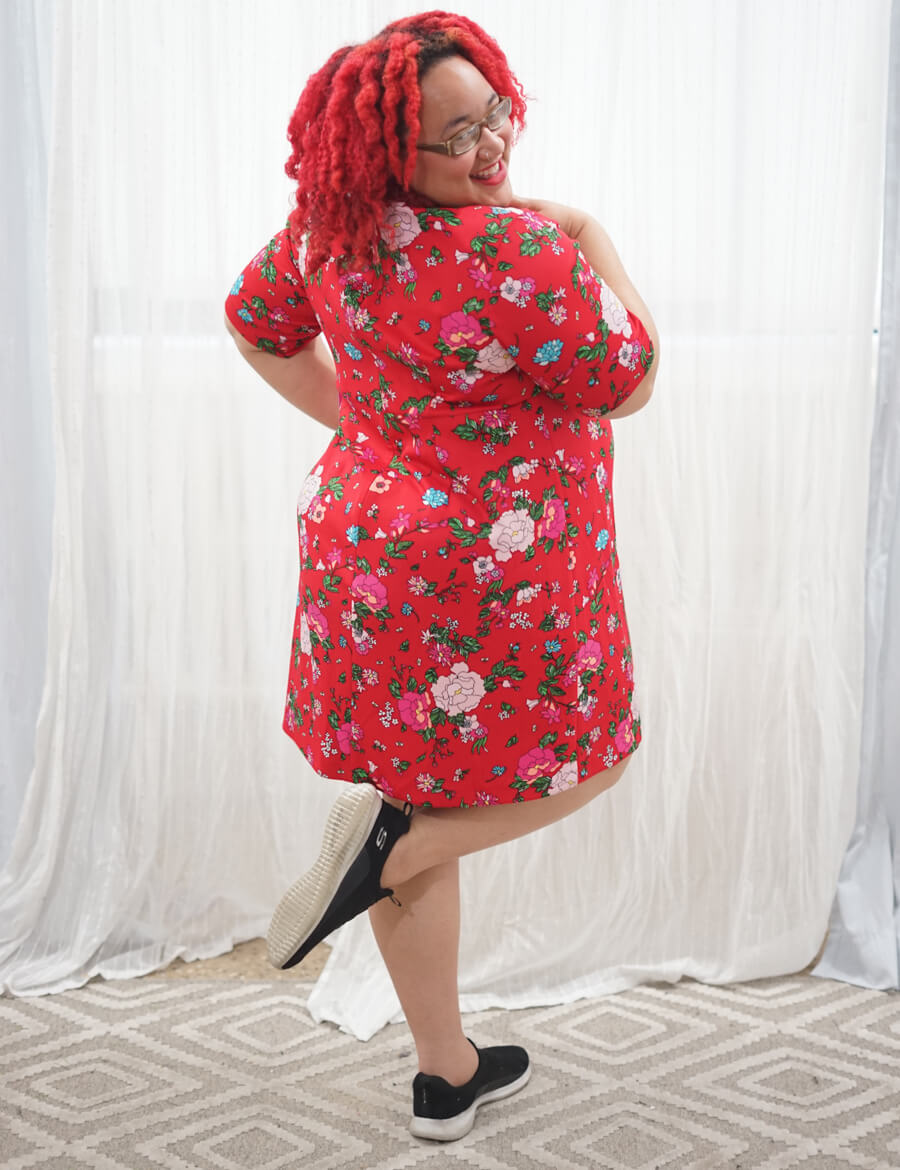 plus-size dress with sneakers red floral betsey johnson dress black sneakers