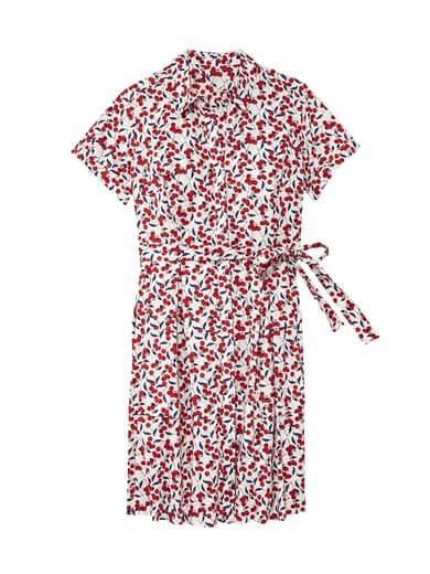 cherry print plus size shirt dress