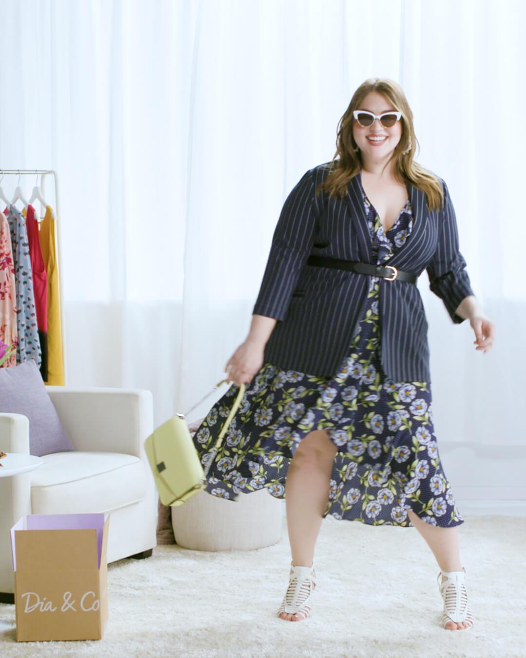 plus-size blazer over printed dress belt sunglasses purse