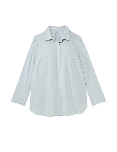 plus-size spring capsule collection striped button up