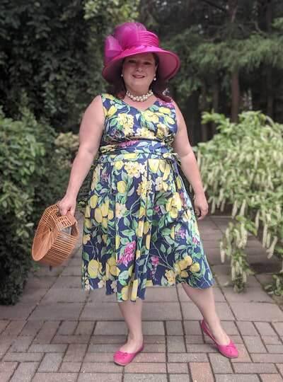 Laura in a lemon print dress