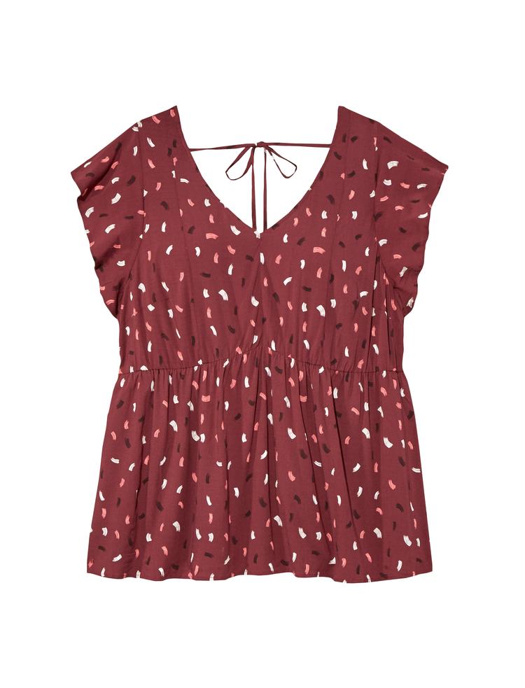 plus size deidra top red print tie back