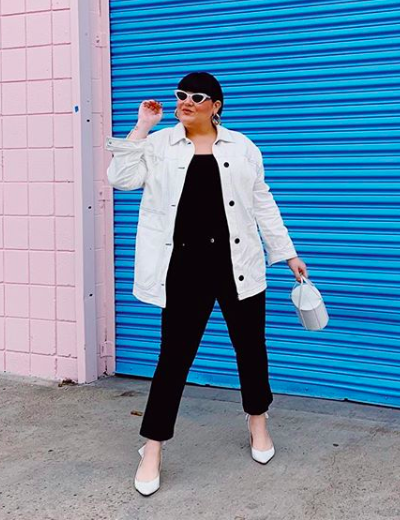 plus size lgbtq influencers nicolette mason white jacket all black outfit