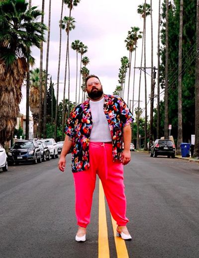 plus size lgbtq influencers troy solomon printed shirt red pants