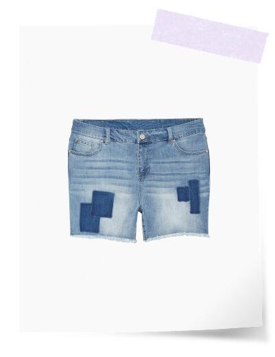 plus size patchwork denim shorts