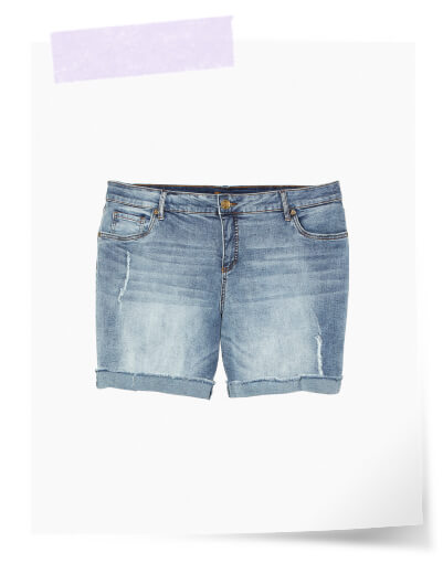 what to pack for vacation plus size light wash denim shorts