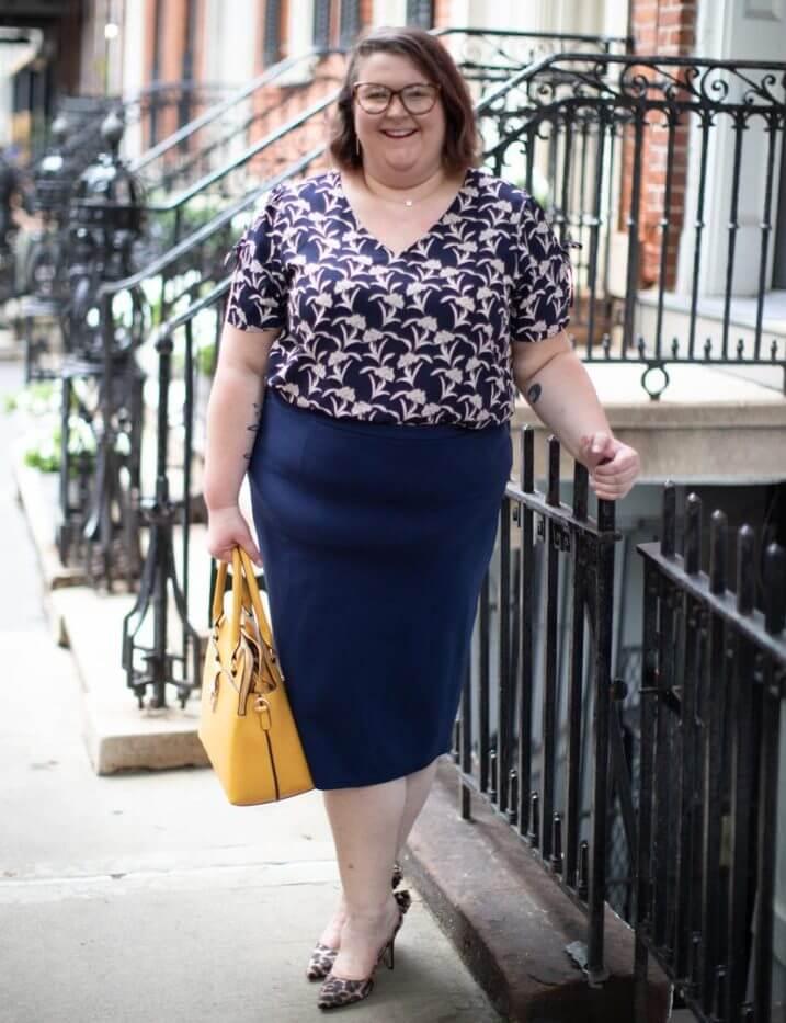 dia community blouse plus size printed top navy pencil skirt
