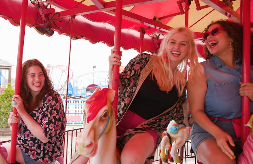 plus-size models at a theme park