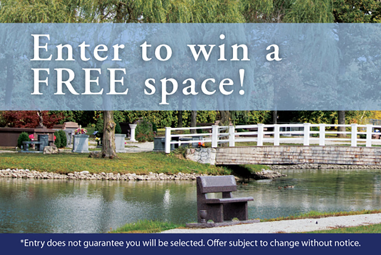Enter for a chance to win a free cemetery space at a Washington Park Cemetery