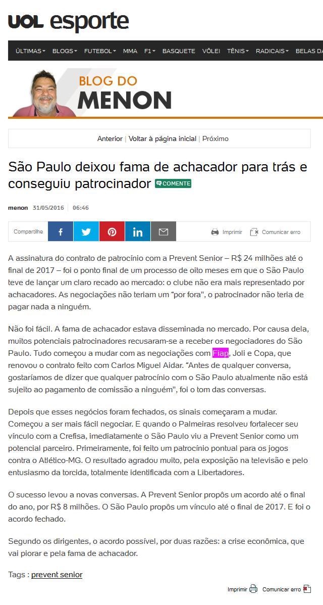 0543b67f0 Portal Uol  Blog do Menon – Notícias (SÃO PAULO DEIXOU FAMA DE ...