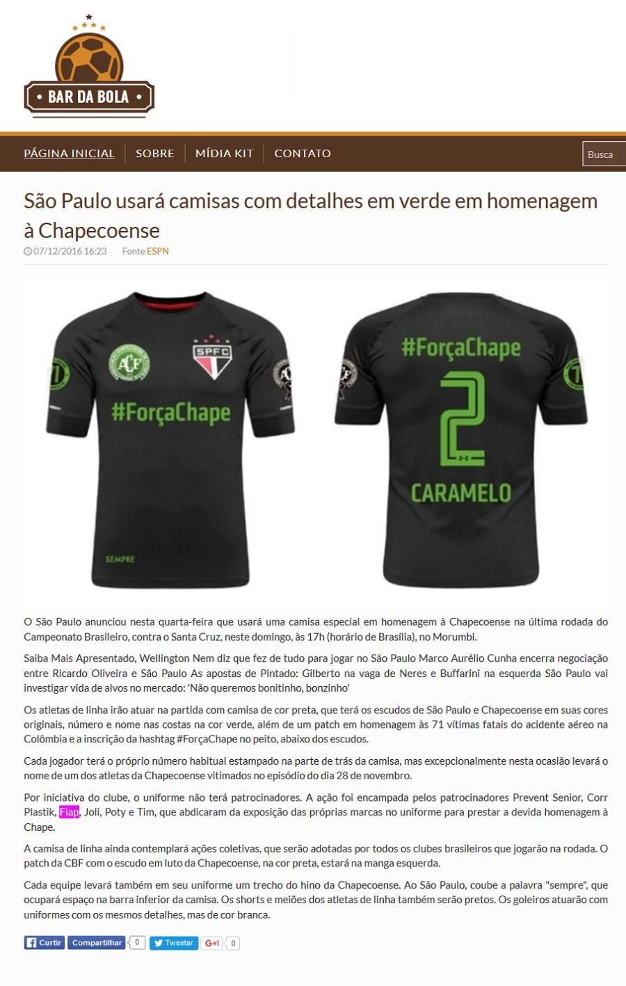 44ce989ec2 Notícias (SÃO PAULO USARÁ CAMISAS COM DETALHES EM .