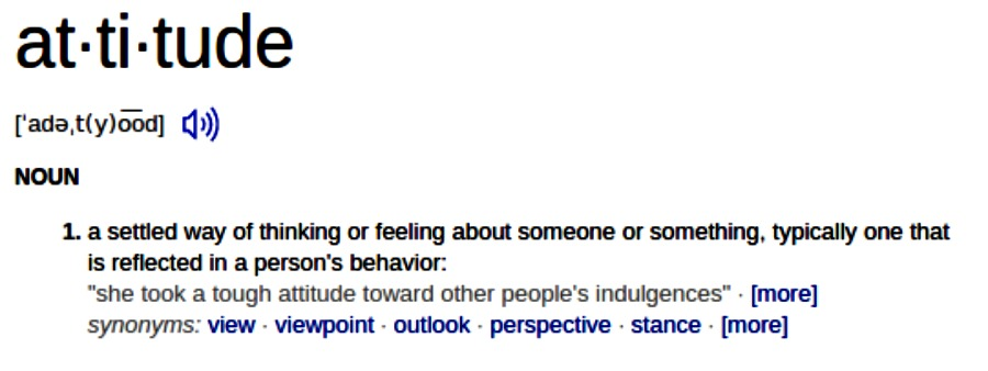 """The Dictionary Say It All About """"Attitude"""""""