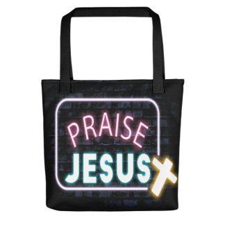 Neon Praise Jesus Tote Bag
