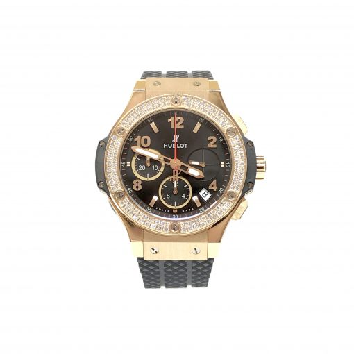 Hublot Big Bang Diamonds 18K Rose Gold  Black Rubber Unisex Watch, 341.PX.130.RX.114